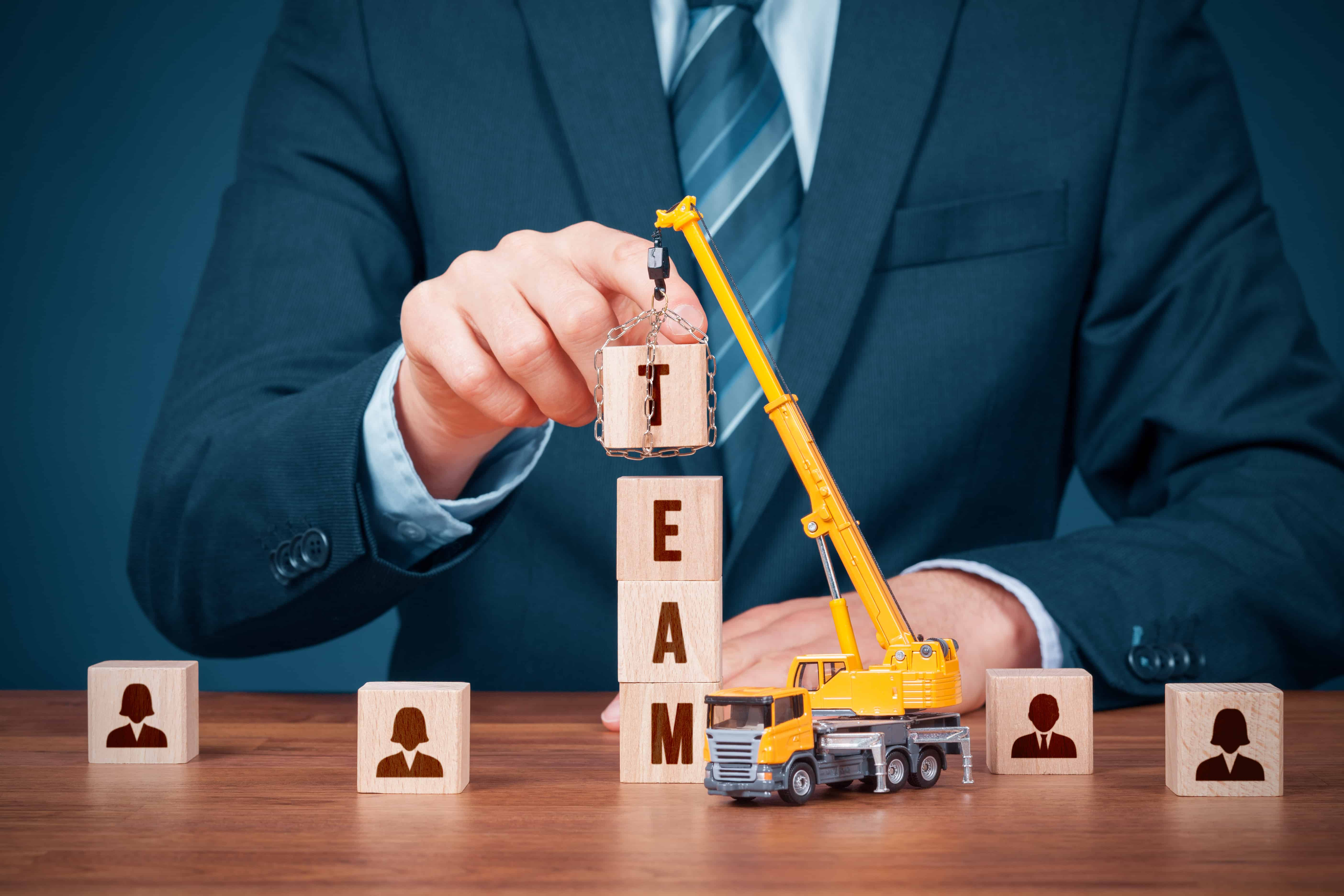 Human resources build team, hire and recruitment concepts. Recruiter complete team.